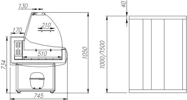 Витрина холодильная Полюс ВХС-1,5 ЭКО mini фото, купить в Липецке   Uliss Trade