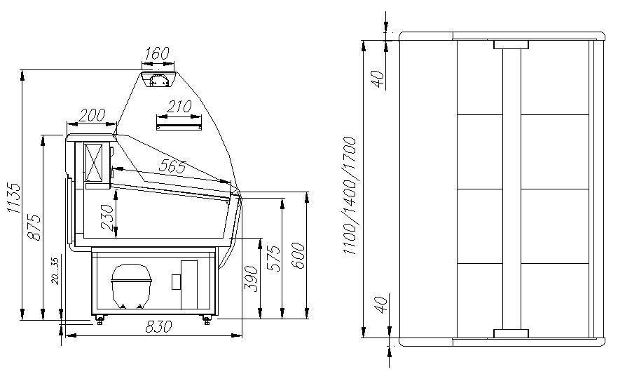 Витрина холодильная Полюс Эко ВХС-1,5 фото, купить в Липецке   Uliss Trade