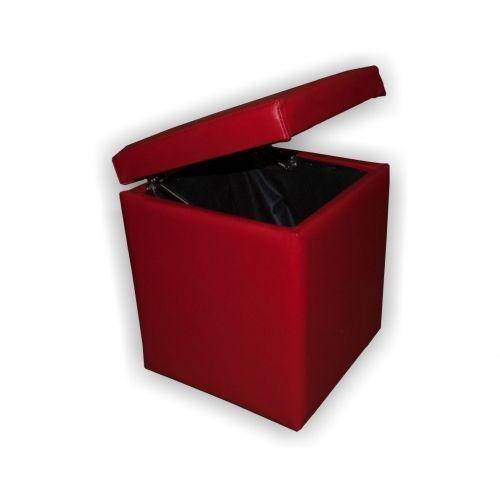 Банкетка куб (красный) с откидной крышкой BN-011