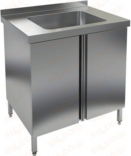 Стол нержавеющий с распашными дверцами и моечной ванной HICOLD НСЗ1М-8/6Б фото, купить в Липецке   Uliss Trade