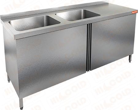 Стол производственный с распашными дверцами и моечной ванной HICOLD НСЗ2М-17/7БЛ фото, купить в Липецке | Uliss Trade