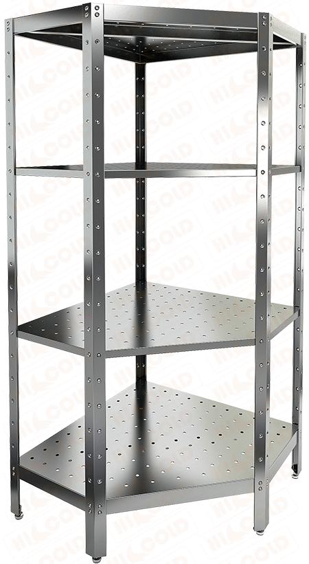 Стеллаж нержавеющий угловой перфорированный HICOLD НСКУВ-4/4 П фото, купить в Липецке | Uliss Trade