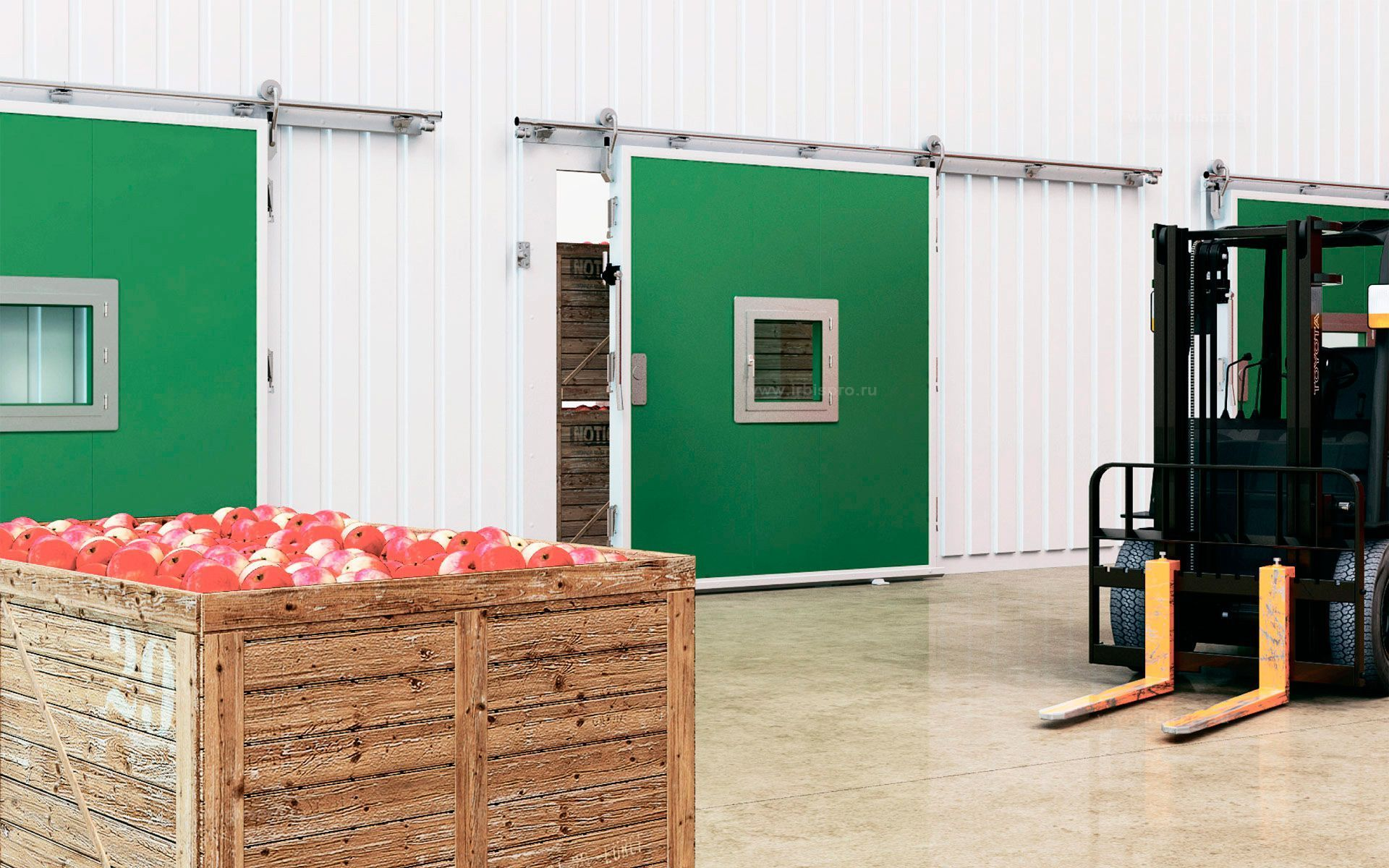 Откатные холодильные двери для помещений с регулируемой газовой средой