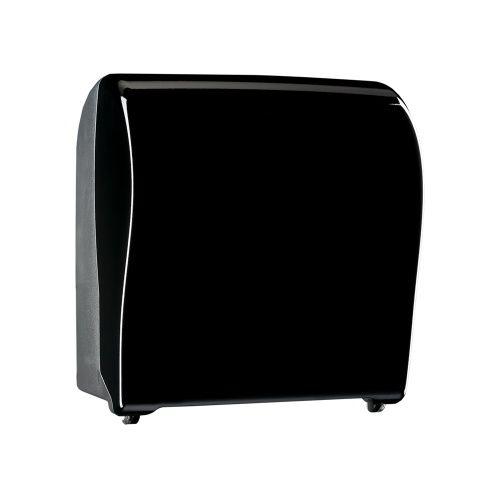 Механический диспенсер для рулонных полотенец MERIDA UNIQUE SOLID CUT PIANO BLACK LINE фото, купить в Липецке | Uliss Trade