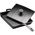 Сковорода чугунная рифленая 270х270 мм «Цыплята табака» с крышкой-прессом Luxstahl фото, купить в Липецке | Uliss Trade