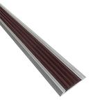 Алюминиевая противоскользящая накладка на ступени с коричневой резиновой вставкой фото, купить в Липецке | Uliss Trade