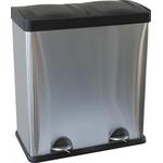 Двойная корзина с педалью для сортировки отходов металлическая, матовая (30 л х 2) фото, купить в Липецке | Uliss Trade