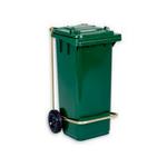 Бак (контейнер) на колесах с педалью для мусора 120 литров зеленый фото, купить в Липецке | Uliss Trade