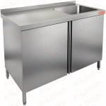 Стол производственный с распашными дверцами и моечной ванной HICOLD НСЗ1М-11/7БП фото, купить в Липецке | Uliss Trade