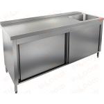 Стол нержавеющий закрытый купе с моечной ванной HICOLD НСЗК1М-17/6БП