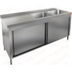 Стол производственный закрытый купе с моечными ваннами HICOLD НСЗК2М-18/7БП