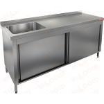 Стол производственный закрытый купе с моечной ванной HICOLD НСЗК1М-17/7БЛ