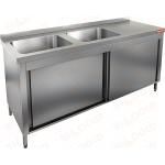 Стол производственный закрытый купе с моечными ваннами HICOLD НСЗК2М-17/7БЛ