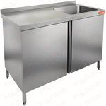 Стол нержавеющий с распашными дверцами и моечной ванной HICOLD НСЗ1М-18/6БП фото, купить в Липецке | Uliss Trade