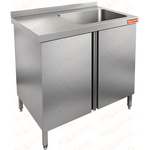Стол нержавеющий с распашными дверцами и моечной ванной HICOLD НСЗ1М-9/6БП фото, купить в Липецке | Uliss Trade