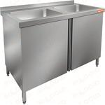 Стол нержавеющий с распашными дверцами и моечной ванной HICOLD НСЗ2М-13/6Б фото, купить в Липецке | Uliss Trade