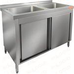 Стол нержавеющий закрытый купе с моечными ваннами HICOLD НСЗК2М-12/6Б фото, купить в Липецке | Uliss Trade