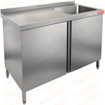 Стол производственный с распашными дверцами и моечной ванной HICOLD НСЗ1М-14/7БП фото, купить в Липецке | Uliss Trade