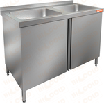 Стол производственный с распашными дверцами и моечной ванной HICOLD НСЗ2М-13/7Б фото, купить в Липецке | Uliss Trade