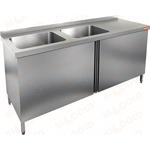 Стол производственный с распашными дверцами и моечной ванной HICOLD НСЗ2М-14/7БЛ фото, купить в Липецке | Uliss Trade