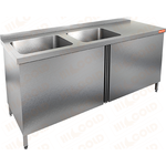 Стол производственный с распашными дверцами и моечной ванной HICOLD НСЗ2М-18/7БЛ фото, купить в Липецке | Uliss Trade