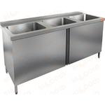 Стол производственный с распашными дверцами и моечной ванной HICOLD НСЗ3М-18/7Б фото, купить в Липецке | Uliss Trade