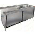 Стол производственный закрытый купе с моечными ваннами HICOLD НСЗК2М-14/7БП фото, купить в Липецке | Uliss Trade