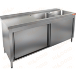 Стол производственный закрытый купе с моечными ваннами HICOLD НСЗК2М-15/7БП фото, купить в Липецке | Uliss Trade