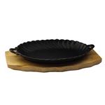 Сковорода овальная на деревянной подставке с ручками 270х190 мм фото, купить в Липецке | Uliss Trade