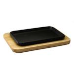 Сковорода прямоугольная на деревянной подставке 260х170 мм фото, купить в Липецке | Uliss Trade