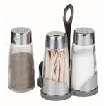 Набор для специй (соль, перец, зубочистки) на пластиковой подставке Luxstahl