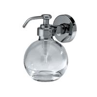 Дозатор для жидкого мыла MERIDA HOTEL в стеклянной таре в форме сферы, с настенным креплением из хромированной латуни, 150 мл фото, купить в Липецке | Uliss Trade