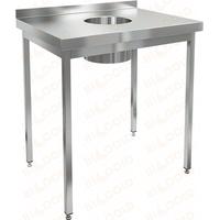 Стол нержавеющий пристенный с бортом для сбора отходов HICOLD НДСО-6/6Б фото, купить в Липецке | Uliss Trade