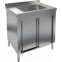 Стол нержавеющий закрытый купе с моечной ванной HICOLD НСЗК1М-8/6Б фото, купить в Липецке | Uliss Trade
