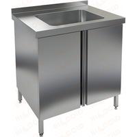 Стол производственный с распашными дверцами и моечной ванной HICOLD НСЗ1М-8/7Б фото, купить в Липецке | Uliss Trade