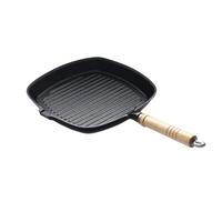Сковорода чугунная рифленая 270х270 мм с деревянной ручкой Luxstahl фото, купить в Липецке | Uliss Trade