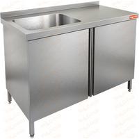 Стол производственный с распашными дверцами и моечной ванной HICOLD НСЗ1М-14/7БЛ фото, купить в Липецке | Uliss Trade