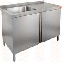 Стол производственный с распашными дверцами и моечной ванной HICOLD НСЗ1М-15/7БЛ фото, купить в Липецке | Uliss Trade