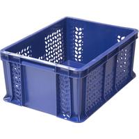 Ящик п/э 400х300х180 мм дно сплош.,стенки перф.с внешней ручкой синий фото, купить в Липецке   Uliss Trade