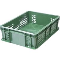 Ящик п/э 400х300х120 мм перфорированный с внешней ручкой зеленый фото, купить в Липецке   Uliss Trade