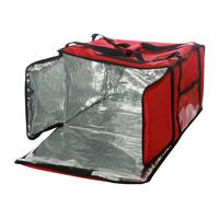 Термосумка на 9-10 пицц 450х450х500 мм фольгированная красная с вентиляцией фото, купить в Липецке   Uliss Trade